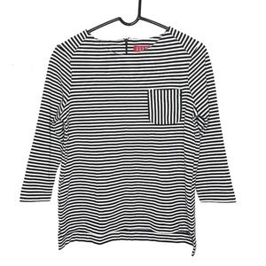 Elle In the Mix 3/4 Sleeve Striped Pocket Blouse